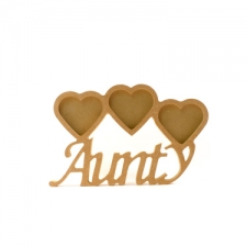 Aunty Photo Frame with 3 Hearts, Corsiva Font (18mm)