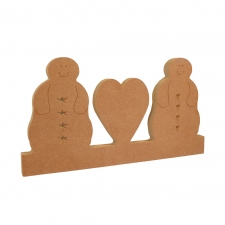 Blobby Snowman Couple with Heart on a Plinth (18mm)