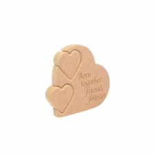 'Born together friends forever'' Double Interlocking Heart (18mm)