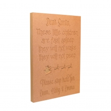 'Dear Santa, These little...' Large Engraved Plaque (18mm)