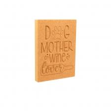 Dog Mother Gin Lover, Engraved Plaque (18mm)