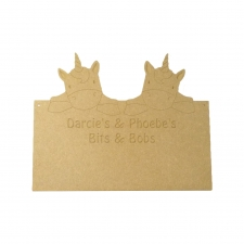 Double Unicorn Plaque, Personalised (6mm)