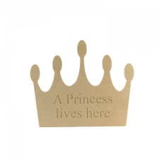 "Engraved Crown shape ""A princess lives here"" (6mm)"