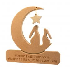 Engraved DOUBLE Hare in a Moon, 'How long will I love you...' (18mm)(