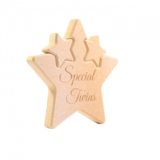 Engraved Double Interlocking Star, Special Twins (18mm)