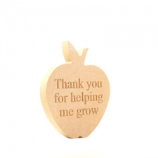 "Engraved Freestanding Apple Shape ""Thank you for helping me grow"" (18mm)"