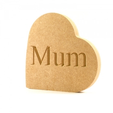 Engraved Heart on the Side, Mum (18mm)