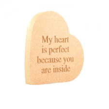 'My heart is perfect...' Engraved Heart o the Side (18mm)