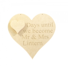"Engraved heart ""Days until we become Mr and Mrs.."" (6mm)"