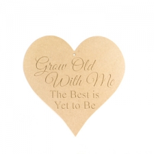 """Engraved heart: """"Grow old with me..."""" (6mm)"""