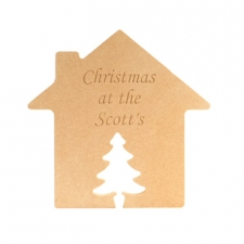 """Engraved house with Christmas Tree Door """"Christmas at the..."""" (18mm)"""