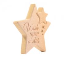 Engraved Interlocking Star, 'Wish Upon a Star' (18mm)