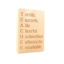 """TEACHER Acrostic' Engraved Plaque (18mm)"