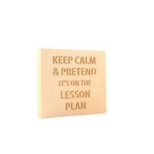 'Keep calm & pretend it's on the lesson plan' Engraved Plaque (18mm)