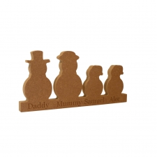 Engraved Snowman Family on Plinth (18mm)