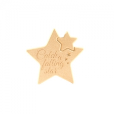 "Engraved star in a star - ""Catch a falling star"" (18mm)"