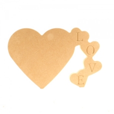 Tumbling Hearts, Engraved LOVE (18mm)