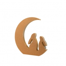 Freestanding DOUBLE Hare in a Moon (18mm)