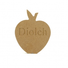"Freestanding Engraved ""Diolch"" Apple Shape (18mm)"