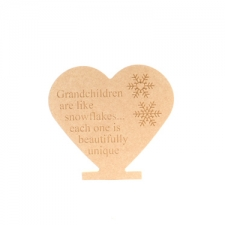 """Grandchildren are like snowflakes..."" Engraved Freestanding Heart (18mm)"