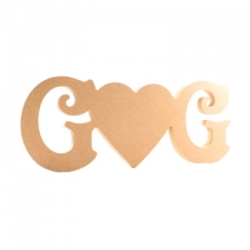 """Freestanding Initial """"Solid Heart"""" Initial, Victorian Font (18mm)"""