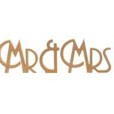 Freestanding Mr & Mrs, Art Deco Font (18mm)