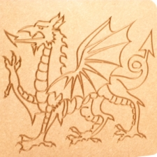 Freestanding Welsh Dragon engraved plaque (18mm)