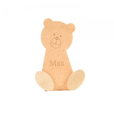 Freestanding Wonky Teddy with Engraved Face and 3D Feet with Engraved Name (18mm + 6mm)
