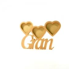 Gran Photo Frame with 3 Hearts, Corsiva Font (18mm)