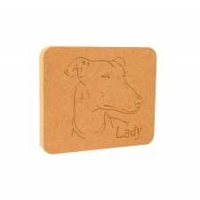 Greyhound Dog Face Plaque (18mm)