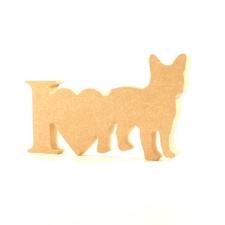 I Love French Bulldog Sign (18mm)