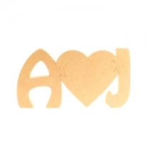 Jigsaw Initials with Heart (18mm)
