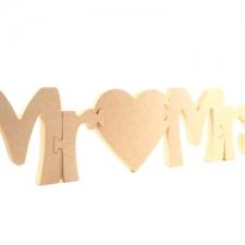 """Jigsaw Font:  Mr """"Heart"""" Mrs (18mm)"""