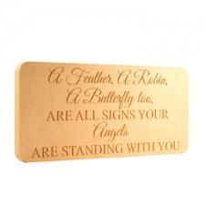 """""""A feather, a robin.."""" engraved rounded corners plaque (18mm)"""