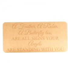 """A feather, a robin.."" engraved rounded corners plaque (18mm)"