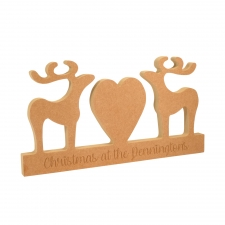 Reindeer Couple with Heart on a Plinth (18mm)