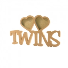 Twins Photo Frame with 2 Hearts (18mm)