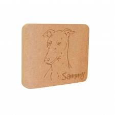 Whippet Dog Face Plaque (18mm)
