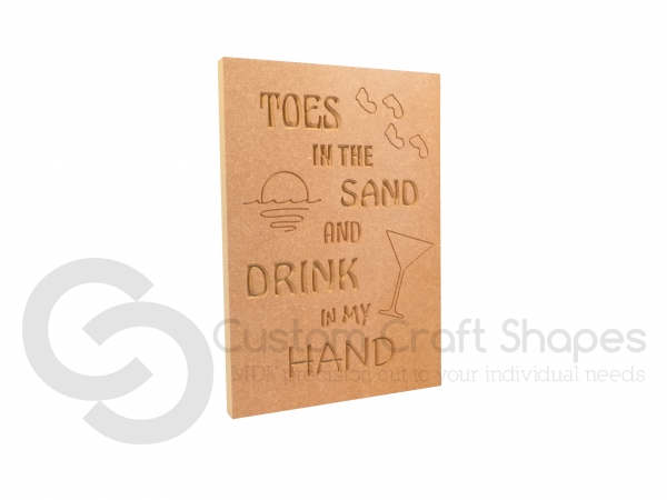 Toes in the sand... Large Engraved Plaque (18mm)