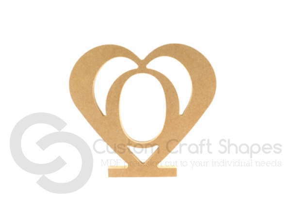 MDF Upright heart with number inside (18mm)