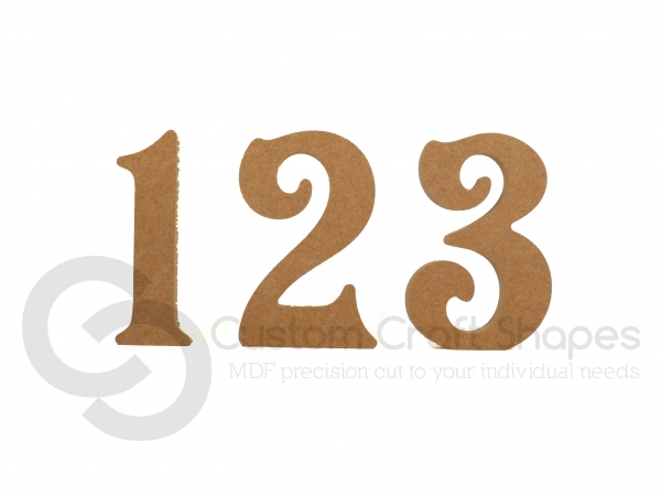 MDF Victorian Font Freestanding Individual Numbers (18mm)