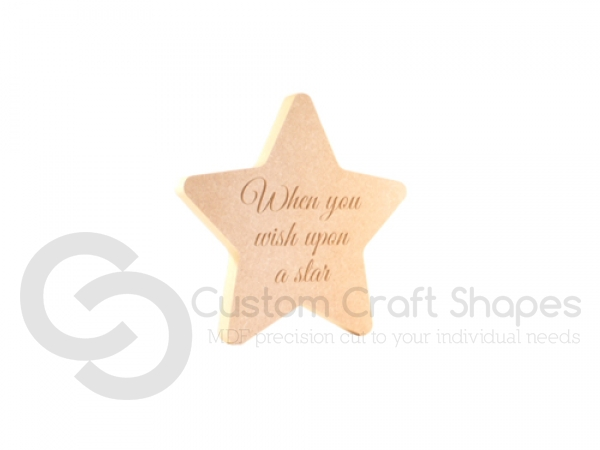 Engraved Rounded Point Star, 'When you wish...' (18mm)