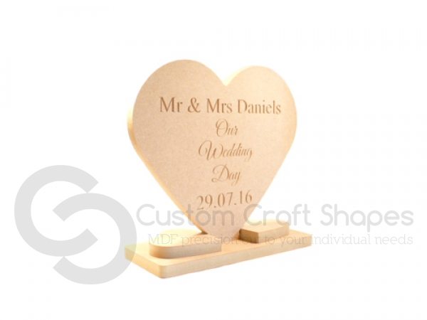 Wedding Heart with Stand, Personalised (18mm)