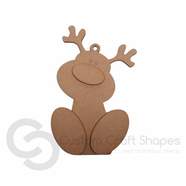 Wonky Reindeer Tree Decoration (3mm)
